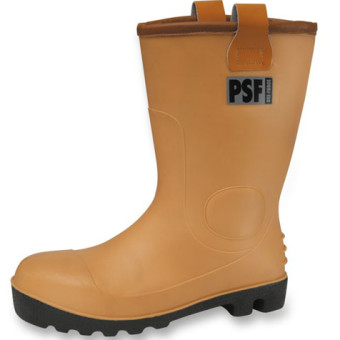 PSF Tan Waterproof Fur Lined Rigger Boot with steel toecap and midsole
