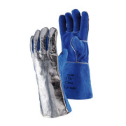 Blue Sebatan Leather / Aluminium Coated Glove